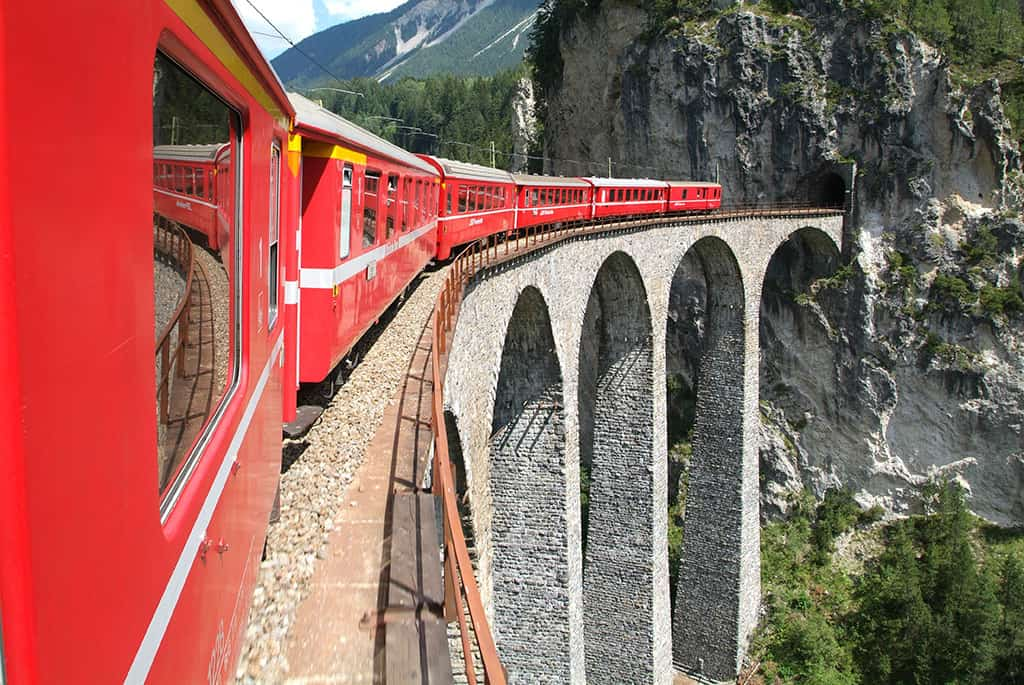 Bernina Express train Swiss Alps