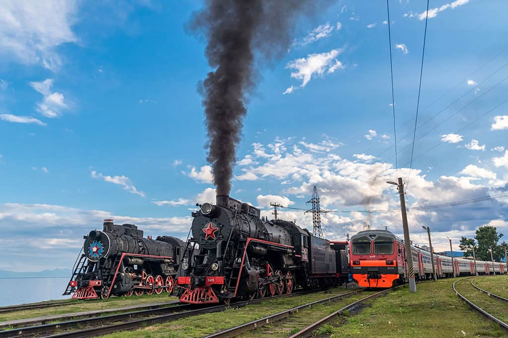 Two Steam locomotives-a-electric-locomotive_Circum-Baikal-Railway Baikal lake Russia