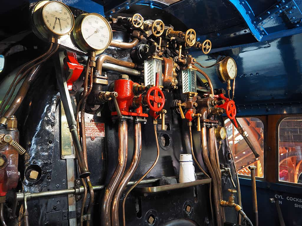 Inside cab of the London and North Eastern Railway steam locomotive Mallard 4468