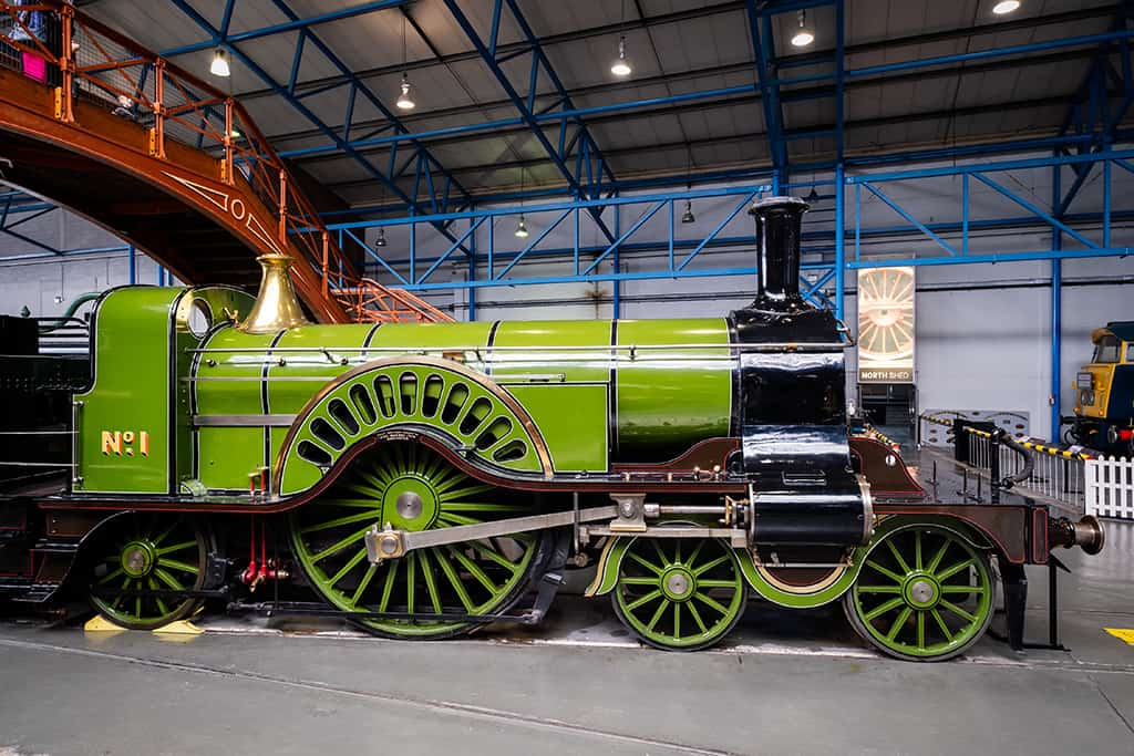 Stirling Single steam locomotive at the National Railway Museum in York