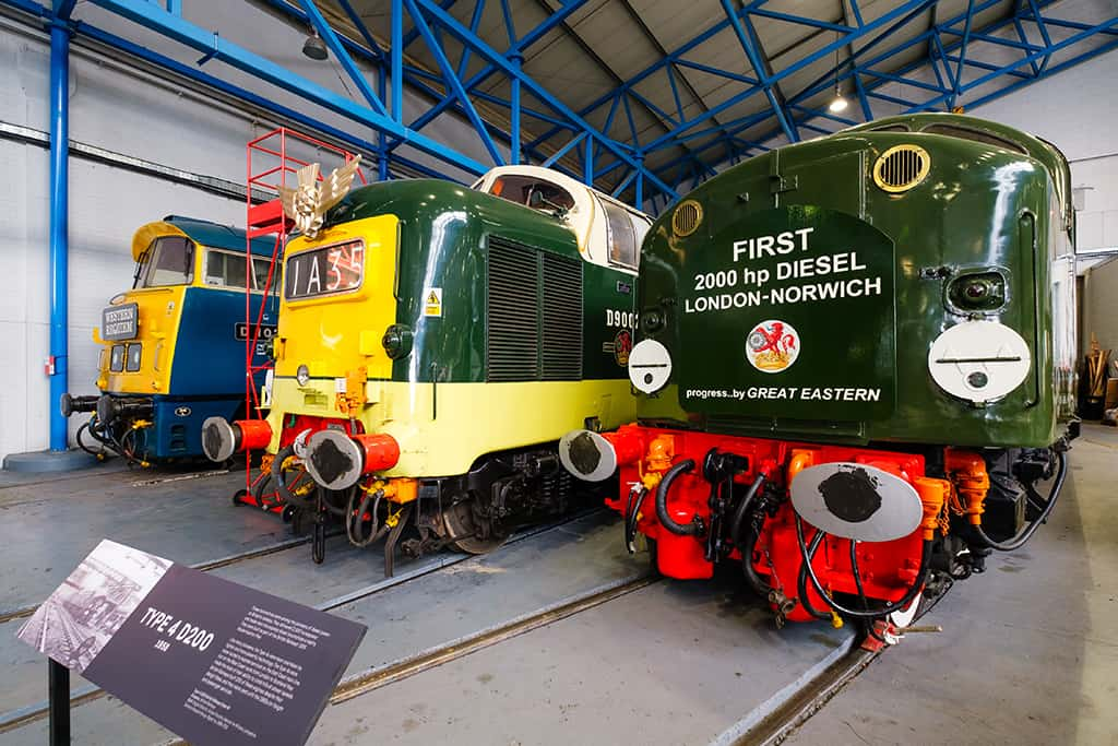 Type 4 D200 diesel powered locomotives at the National Railway Museum in York